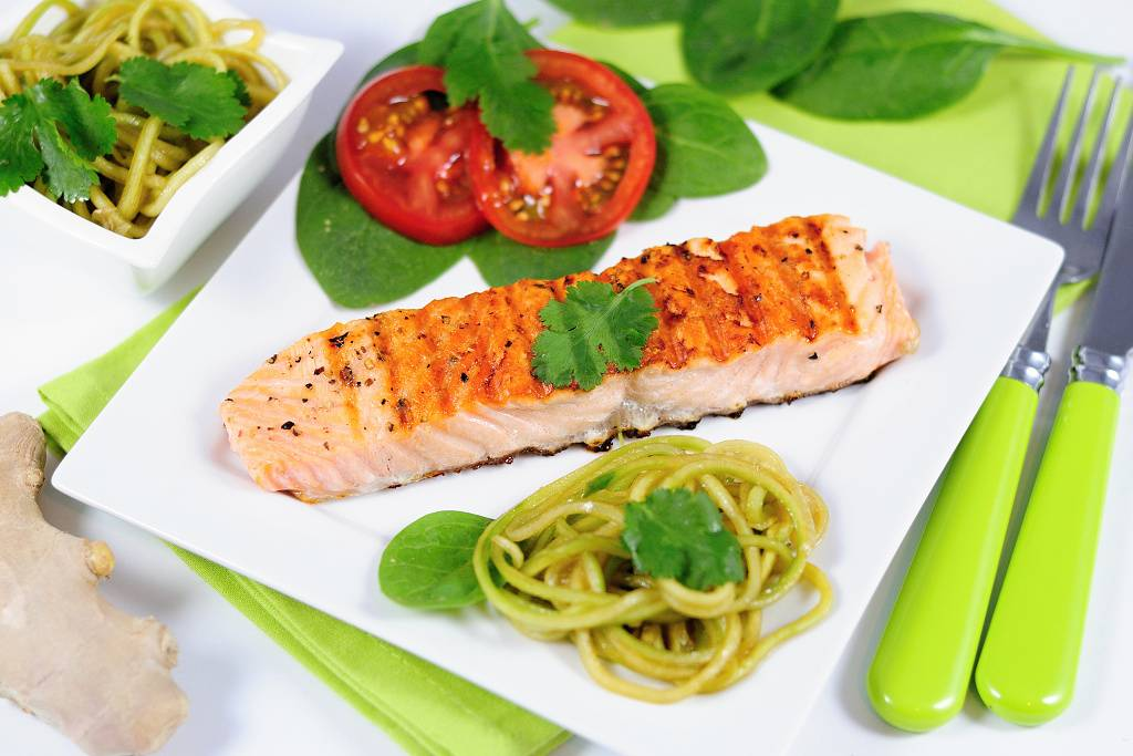 Grilled salmon with coriander salad
