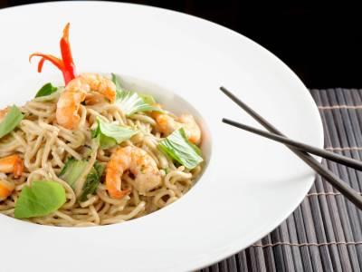Thajské nudle s krevetami