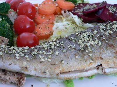 Pstruh se salátem a dušenou zeleninou